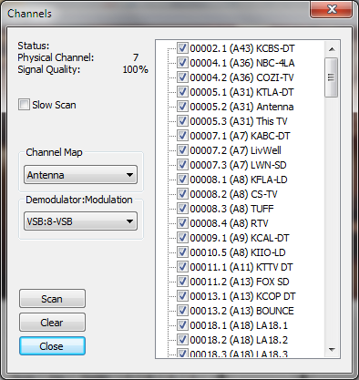 Easy HDTV DVR Channels Dialog